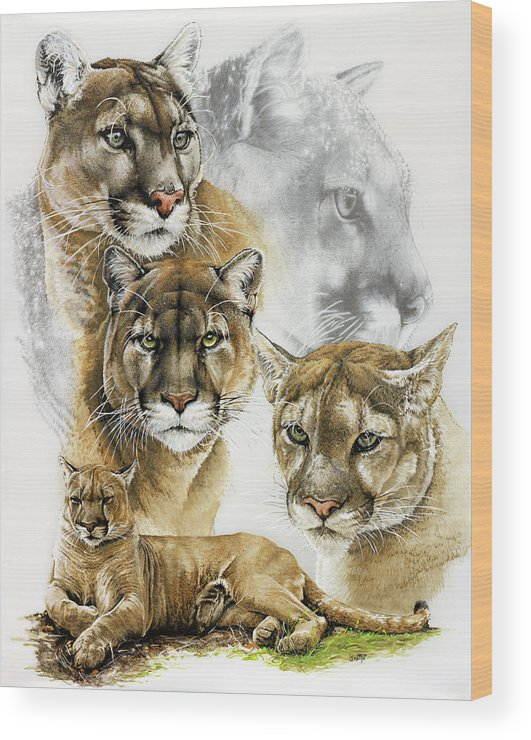 Fierce Wood Print featuring the painting Fierce by Barbara Keith