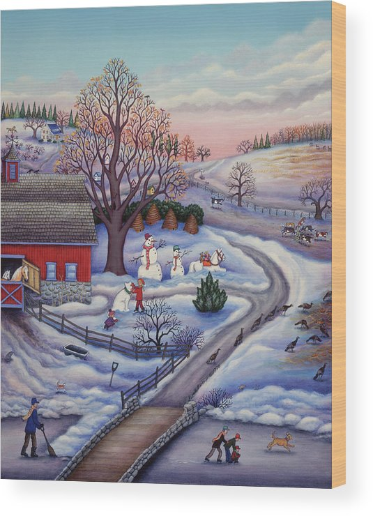 Winter Farm Wood Print featuring the painting Winter Farm by Kathy Jakobsen