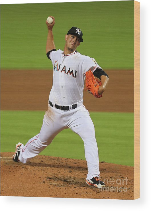 People Wood Print featuring the photograph Washington Nationals V Miami Marlins by Mike Ehrmann