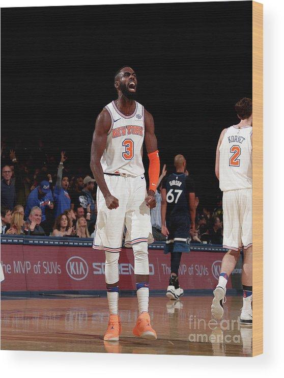Tim Hardaway Jr. Wood Print featuring the photograph Minnesota Timberwolves V New York Knicks by Nathaniel S. Butler