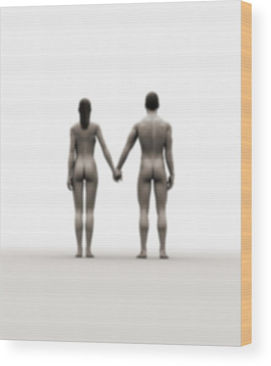 Heterosexual Couple Wood Print featuring the digital art A Naked Couple Holding Hands by Jorg Greuel