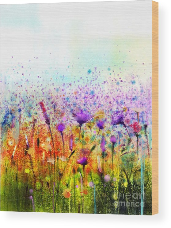 Beauty Wood Print featuring the digital art Abstract Watercolor Painting Purple by Pluie r