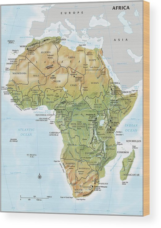 Topography Wood Print featuring the digital art Africa Continent Map With Relief by Globe Turner, Llc