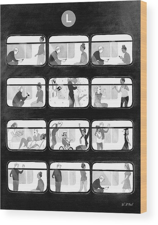 Train Wood Print featuring the drawing An L Train Love Story by Will McPhail