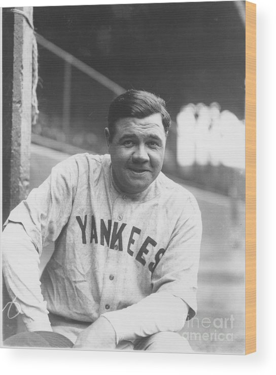 People Wood Print featuring the photograph Babe Ruth by Louis Van Oeyen/ Wrhs