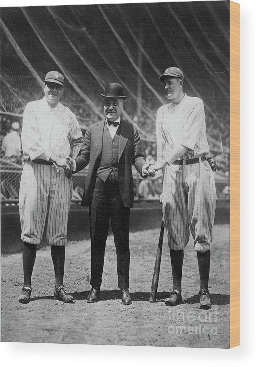 American League Baseball Wood Print featuring the photograph Babe Ruth Ruppert Meusel by Transcendental Graphics