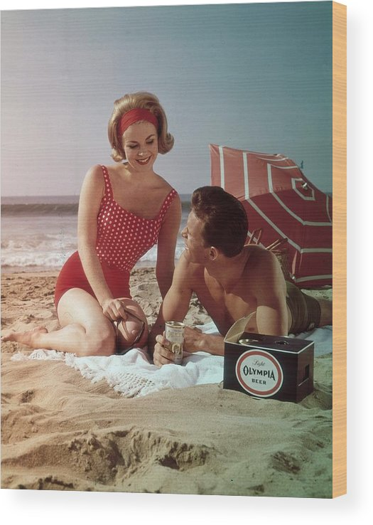 Alcohol Wood Print featuring the photograph Beer On The Beach by Tom Kelley Archive