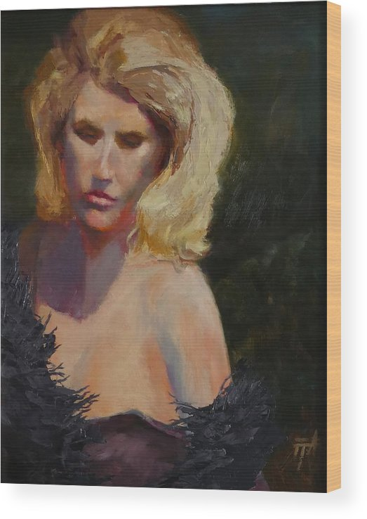 Woman Wood Print featuring the painting Blond in Black by Irena Jablonski