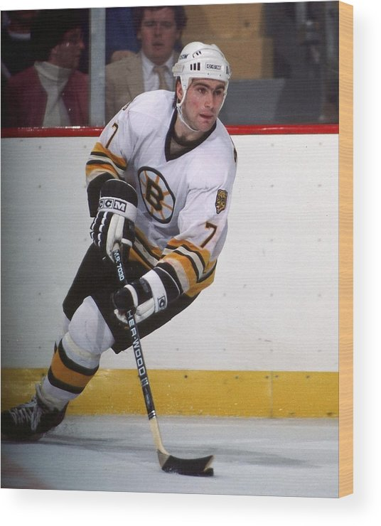 1980-1989 Wood Print featuring the photograph Boston Bruins by Steve Babineau