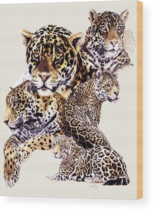 Jaguar Wood Print featuring the drawing Burn by Barbara Keith