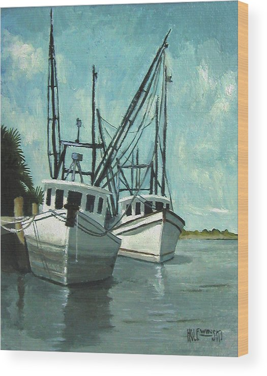 Apalachacola Wood Print featuring the painting Captain Fuzz and Henry by Robert Holewinski