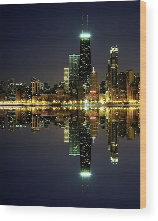 Lake Michigan Wood Print featuring the photograph Chicago Skyline Reflected On Lake by Pawel.gaul