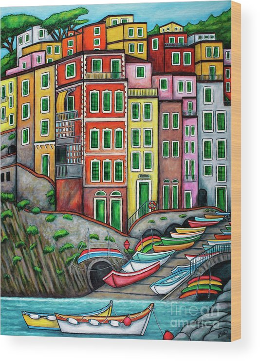 Italy Wood Print featuring the painting Colours of Riomaggiore, Cinque Terre by Lisa Lorenz
