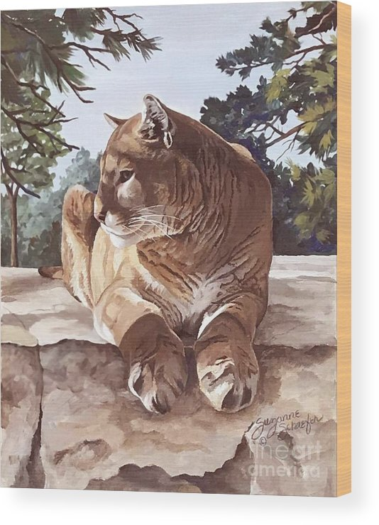 Cougar Wood Print featuring the painting Cougar Outlook by Suzanne Schaefer