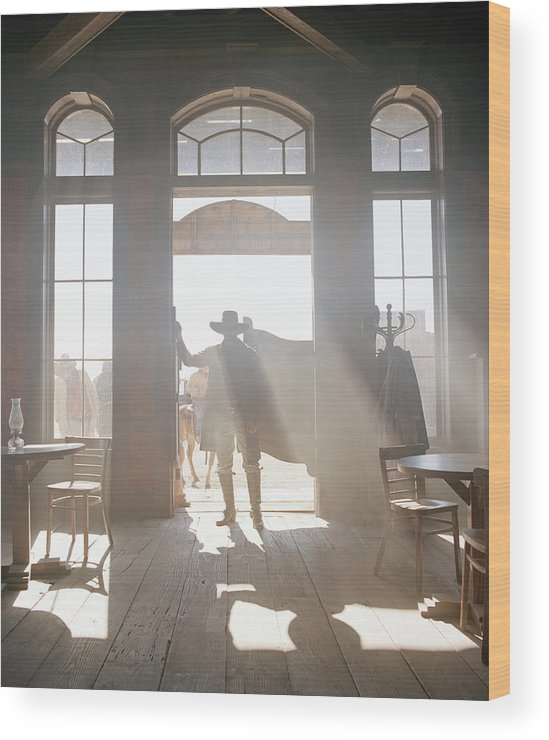 Shadow Wood Print featuring the photograph Cowboy At Saloon by Matthias Clamer