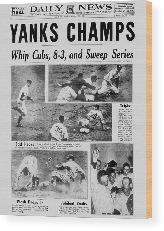 American League Baseball Wood Print featuring the photograph Daily News Front Page October 10, 1938 by New York Daily News Archive