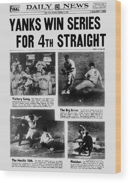 American League Baseball Wood Print featuring the photograph Daily News Front Page October 9, 1939 by New York Daily News Archive