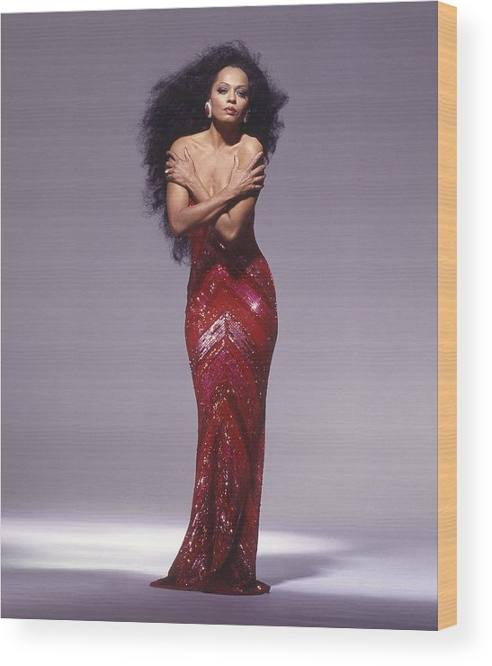 Singer Wood Print featuring the photograph Diana Ross Portrait Session by Harry Langdon
