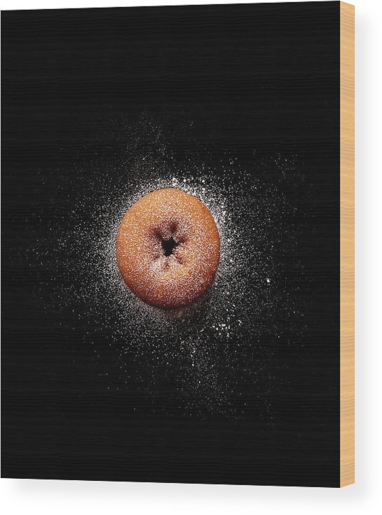 Black Background Wood Print featuring the photograph Doughnut With Powdered Sugar by Michael Maes