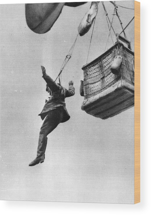 Parachuting Wood Print featuring the photograph Early Parachute by Three Lions