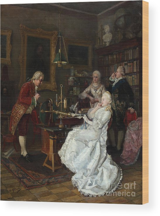 Mikhail Lomonosov Wood Print featuring the drawing Empress Catherine II Visiting by Heritage Images