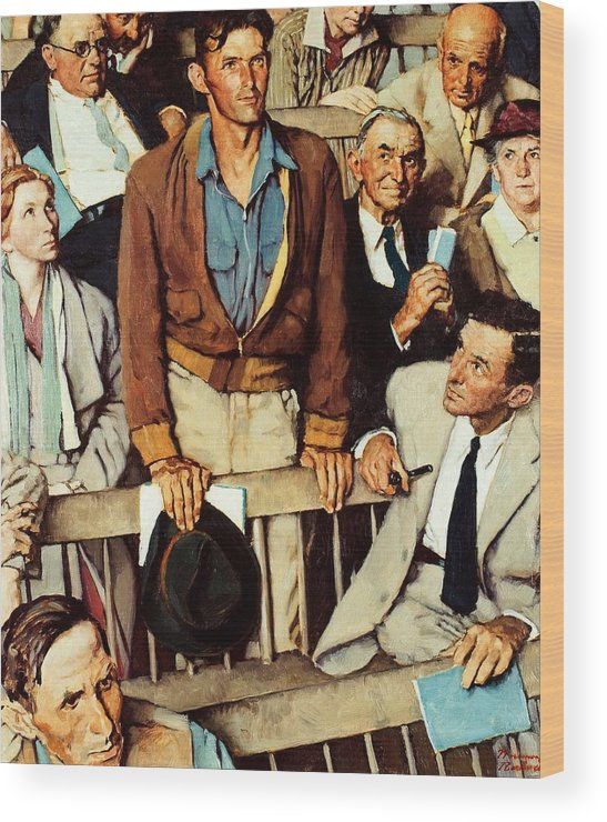 Man Standing Wood Print featuring the drawing Freedom Of Speech by Norman Rockwell