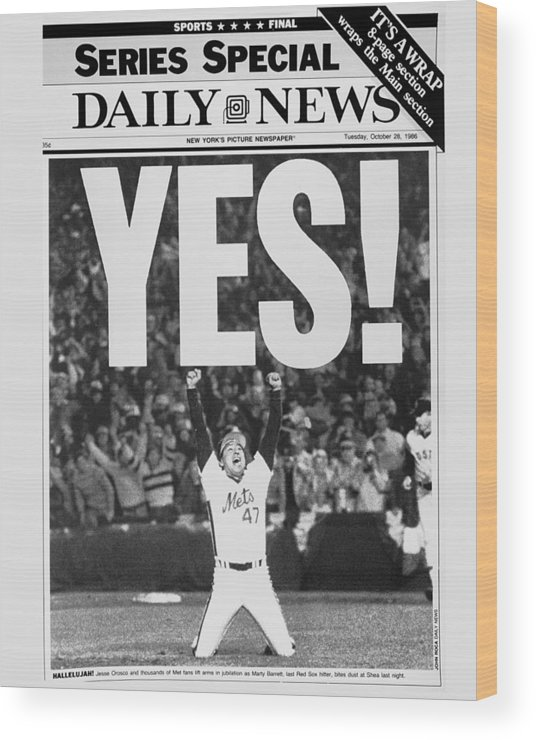 1980-1989 Wood Print featuring the photograph Friont Page, Jesse Orosco And Thousands by New York Daily News Archive