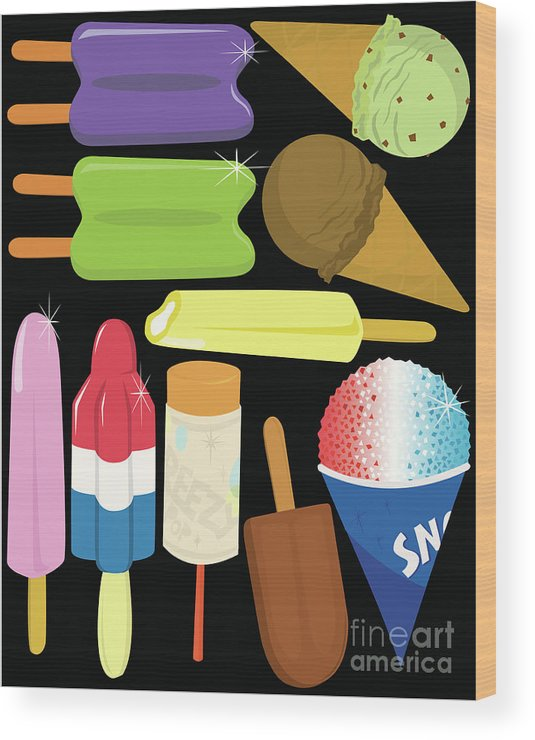 Mint Ice Cream Wood Print featuring the digital art Frozen Treats by Rangepuppies