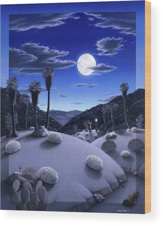 Desert Wood Print featuring the painting Full Moon Rising by Snake Jagger
