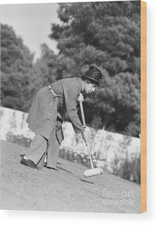 People Wood Print featuring the photograph Harpo Marx Playing Croquet by Bettmann