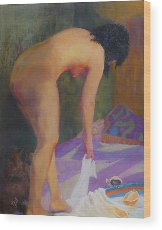 Nude Wood Print featuring the painting If Must Be Somewhere by Irena Jablonski