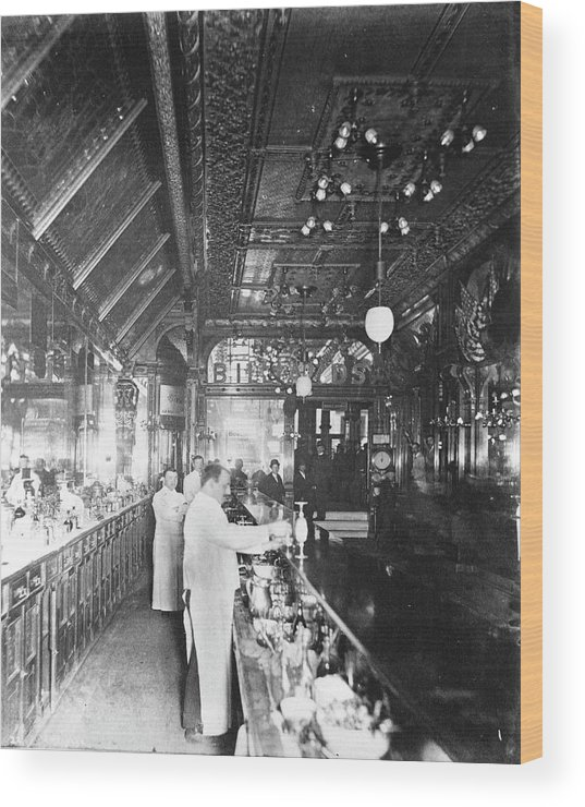 Working Wood Print featuring the photograph Inside Hannah And Hoggs Saloon by Chicago History Museum