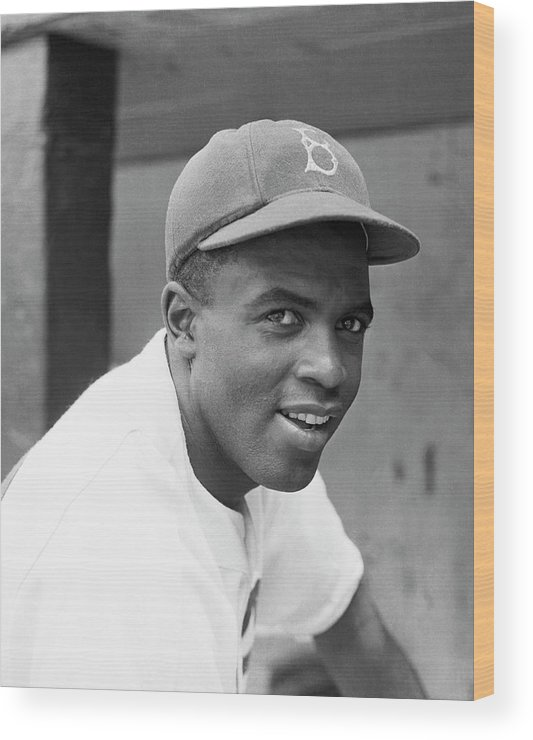 Baseball Cap Wood Print featuring the photograph Jackie Robinson Smiling by Bettmann