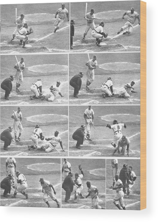 1950-1959 Wood Print featuring the photograph Jackie Robinson, With Two Out In The by New York Daily News Archive