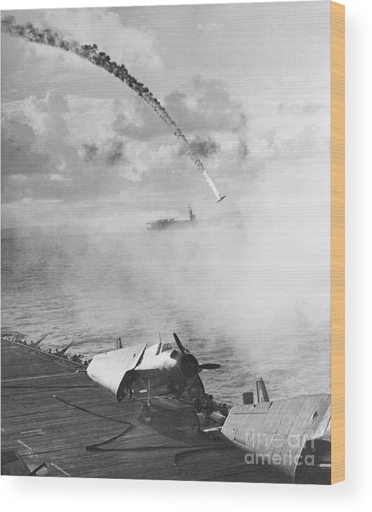 Japanese Military Wood Print featuring the photograph Japanese Fighter Shot by Bettmann