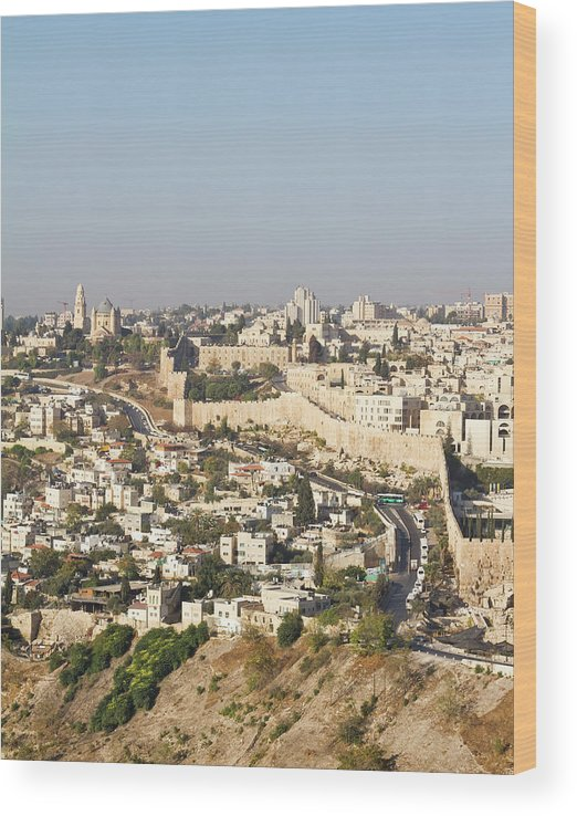 Built Structure Wood Print featuring the photograph Jerusalem City Wall From A Distance by Raquel Lonas