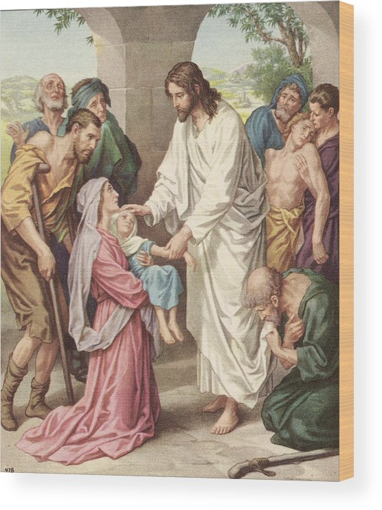 Engraving Wood Print featuring the photograph Jesus Healing The Sick by Kean Collection