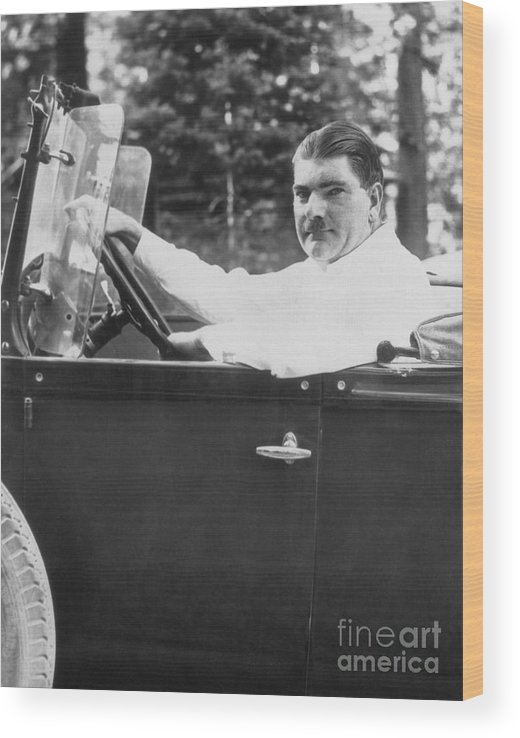 People Wood Print featuring the photograph Leonard Kip Rhinelander Seated In Car by Bettmann