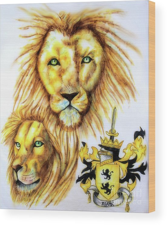 Sharpie Art Wood Print featuring the drawing Lions Roark Crest by Scarlett Royal