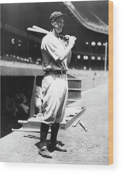 People Wood Print featuring the photograph Lou Gehrig Before The Game by Transcendental Graphics