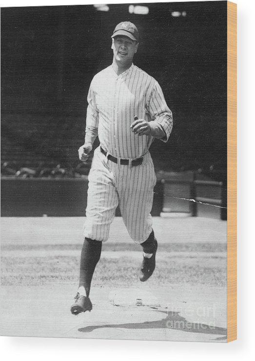 People Wood Print featuring the photograph Lou Gehrig Working Out by Transcendental Graphics