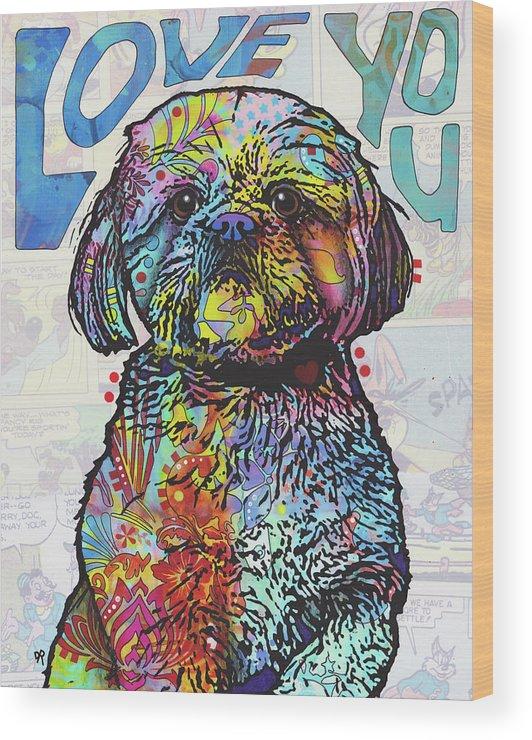 Love You Shih Tzu Wood Print featuring the mixed media Love You Shih Tzu by Dean Russo