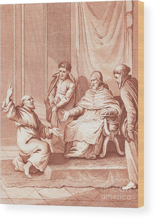 Art Wood Print featuring the photograph Man Meeting With The Pope by Bettmann