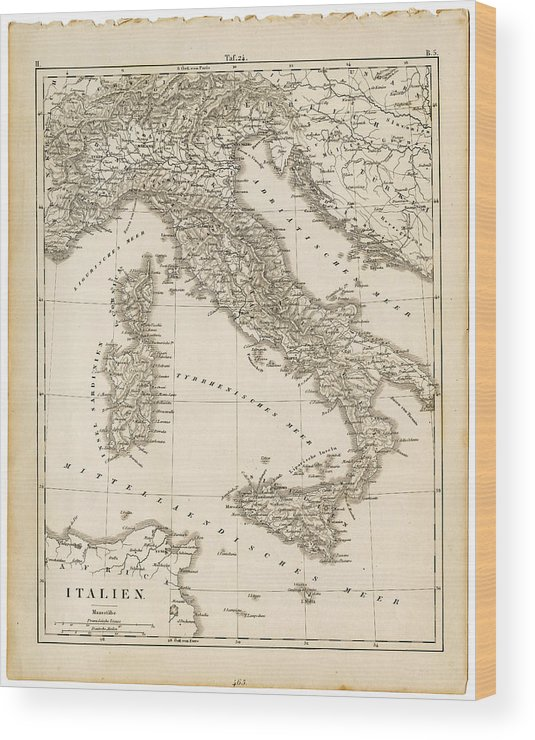 Sicily Wood Print featuring the digital art Map Italy 1840 by Thepalmer