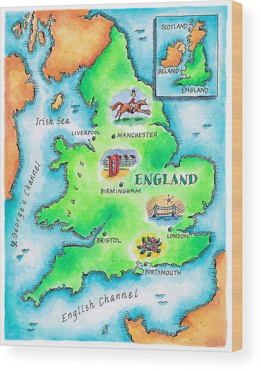 Watercolor Painting Wood Print featuring the digital art Map Of England by Jennifer Thermes