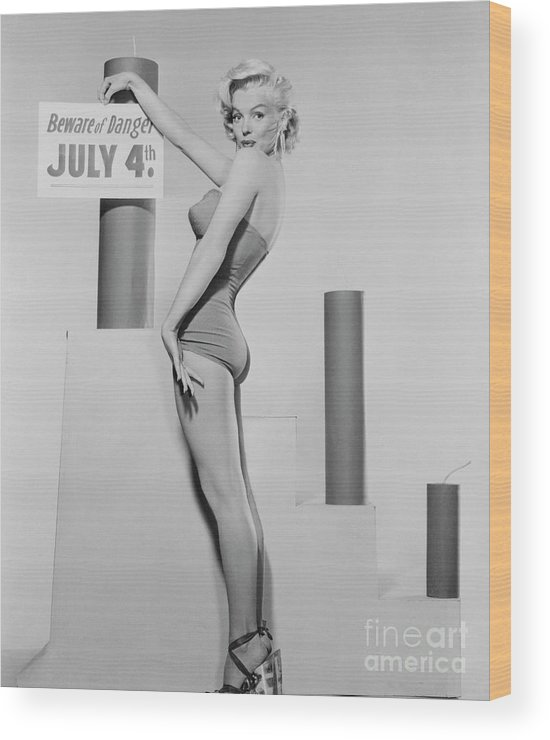 Firework Display Wood Print featuring the photograph Marilyn Monroe Advertising Safety by Bettmann