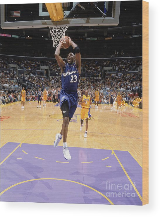 Nba Pro Basketball Wood Print featuring the photograph Michael Jordan Goes Up by Andrew D. Bernstein