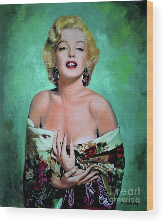 Woman Wood Print featuring the painting M.Monroe 4 by Jose Manuel Abraham