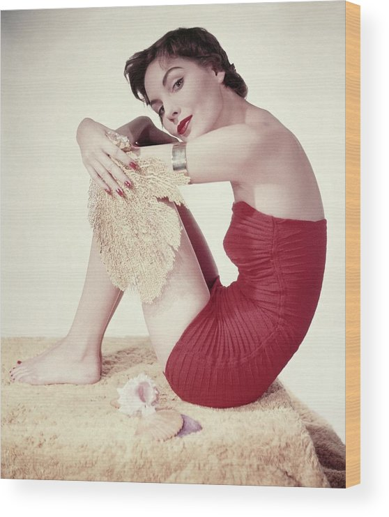 Fashion Wood Print featuring the photograph Model In A Red Jantzen Swimsuit by Horst P. Horst