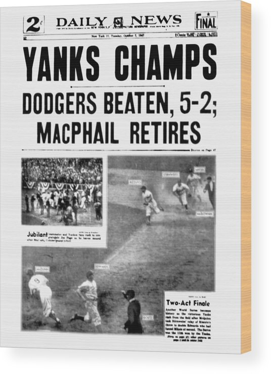 American League Baseball Wood Print featuring the photograph New York Daily News Front Page October by New York Daily News Archive